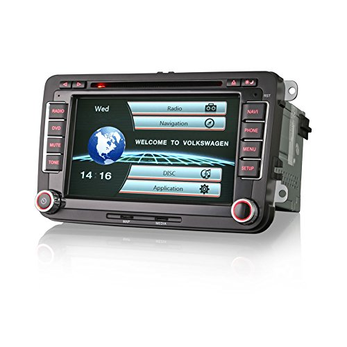 Erisin Car Stereo 7 Inch Head Unit Car Radio DVD Player with Sat Nav Car Multimedia Support OBD for VW GOLF SEAT PASSAT CC TIGUAN SHARAN JETTA CADDY POLO EOS ES7900V