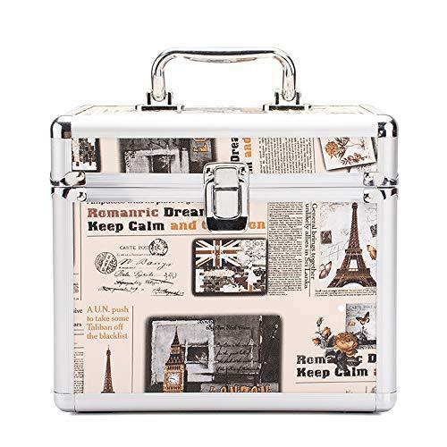 Storage Box Boîte de Rangement cosmétique de Clou, Caisse cosmétique de Tissu portatif Pliable de Grande capacité de beauté de boîte portative de beauté d'alliage d'aluminium