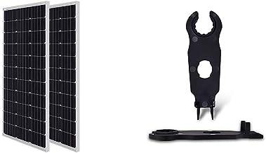 Renogy Solar Panel 2pcs 100 Watt 12 Volt Monocrystalline, 2-Pack Compact Design & Solar Panel Connector Assembly Tool