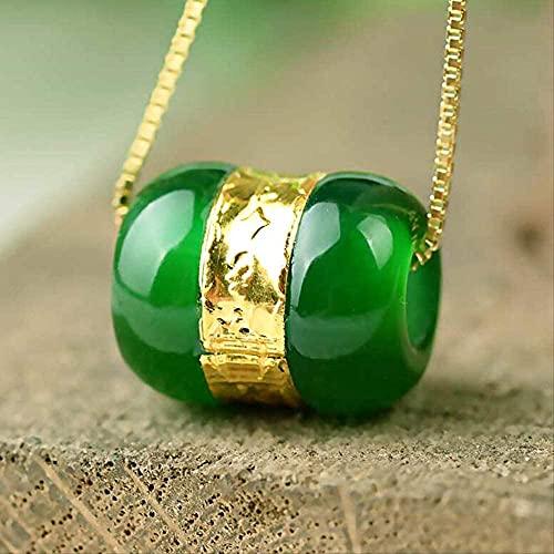 ZYLZL Colgante de cuentas de transferencia de calcedonia, collar de Lulutong de Jade dorado, amuleto de la suerte, joyería para amantes para hombres y mujeres, regalo