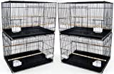 "【Lot of 4】 】Large Size:【 30"" x 18"" x 18""H】 Breeding Bird Cages Lift Up front door with one small door inside, Slide out bottom tray Bird Safe Epoxy Coated Finish; Include Clear Feeder Cups, Feeder Doors and Wooden Stand Perches Bar Spacing: 3/8"" For ..."