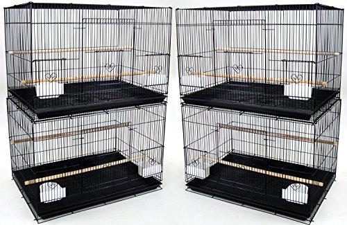 Mcage Lot of 4 Large 30' Flight Bird Breeding Cage Canary Aviary Lovebird Budgie Finch Parakeet (Black)
