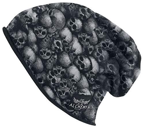 Alchemy England Crânes Unisexe Bonnet Noir, 95% Coton, 5% Élasthanne, Regular/Coupe Standard