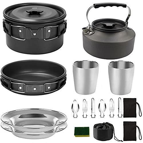 Camping Kit De Utensilios De Cocina Pot Sartén Estufa Set De Hervidor De Acero Inoxidable Productos para Cocinar Al Aire Libre Y Picnic Negro