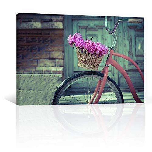 CANVAS REVOLUTION | Cuadro Decorativo Canvas Lienzo Impresión | Vintage | Bicicleta Y Cesto De Flores | Diferentes Dimensiones Tamaños Medidas Disponibles | Decoración De Interiores | Cuadros Minimalistas Modernos | Cuadros Para Sala Comedor Recamara Oficina Cocina (Rectangular, 90 x 60 cm)