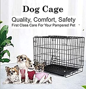 """Despacito Metal Foldable Dog cage for Puppy, Crate, Double Door Pet House for Dogs/Cats,Feeder Bowl for Dogs (17 * 24 * 20"""" Inch (L*B*H),Random Color)"""