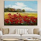 SADHAF Impresión abstracta paisaje de cártamo salvaje pintura al óleo lienzo moderno jardín póster Arte mural habitación imagen decoración A5 60x90cm