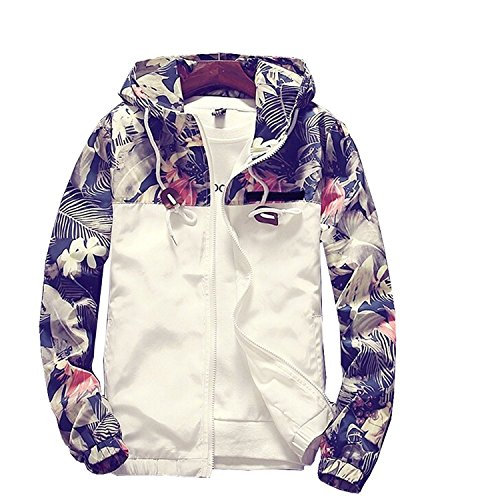 Banana Bucket Floral Bomber Jacket Men Hip Hop Slim Fit Flowers Bomber Jacket Coat Men's Hooded Jackets(US XL) Label Size 4XL