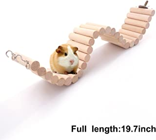 Mokook Hamster Wooden Bridge for Hamster Parrot Small Pets, Bendable Hanging Design, 19.8 inch Total Length and 2.36 inch Width