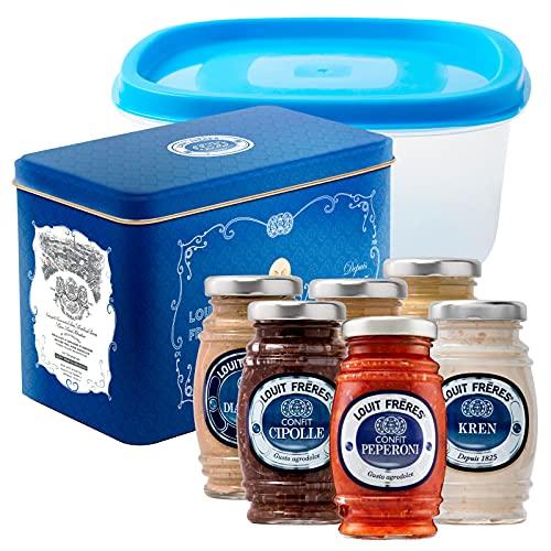 Louit Frères Coffret Belle Epoque Cofanetto con Salse e Condimenti alla Senape Confit e Kren Kit da 6 Vasetti Misti + Contenitore Alimentare