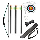 HANSPY Bow and Arrow Set for Junior Hunting Beginner Bow Recurve Bow Archery Longbow Outdoor Kit 15LB for Kids Teens Gift with 10 Arrows 5 Target Faces 4 Target Pins 1 arm Guard 1 Kid Quiver