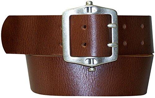 Fronhofer Ceinture mixte 100% cuir à double griffe 17085, Taille:Taille 95 cm, Couleur:Cognac
