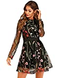 Milumia Women's Floral Embroidery Mesh Round Neck Tunic Party Dress Black Small