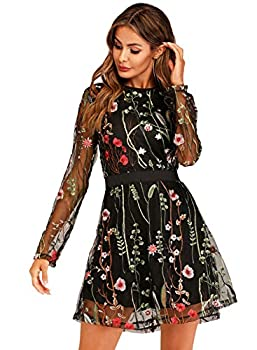Milumia Women s Floral Embroidery Mesh Round Neck Tunic Party Dress Black Large