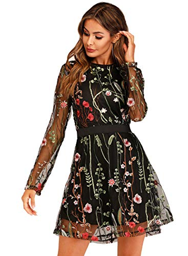 Milumia Women's Floral Embroidery Mesh Sheer Round Neck Tunic Party Dress Black