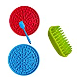 Dog Silicone Shampoo Brush, Easy to Clean Dog Bath Brush& 2 PCS Lick mat for Dogs, Soft Massage Comb Brushing/silicone spatula /Slow Feeder Pad kit for Medium to Long Haired Medium Large Pets and Cats