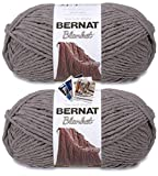 Bernat Blanket Yarn - Big Ball (10.5 oz) - 2 Pack with Pattern Cards in Color (Dark Grey)