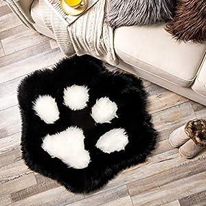 Ashler Soft Fluffy Faux Fur Area Rug Cat Paw Faux Sheepskin Fuzzy Kids Rug 2.8 X 3.2 Feet Black Indoor Decorative Rugs