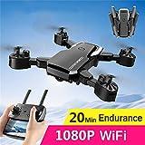 ZZAZXB RC Pliant Drone avec 1080P HD Double Caméras, WiFi Image en Temps Réel Transmission, Geste Prendre des Photos, Altitude Fixe Quatre Axes d'avion, Cadeau pour Enfants et Débutants,Noir