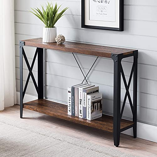 OKD Console Sofa Table Industrial Entry Entryway Hallway Entrance Long Tables for Living Room Kitchen, with X-Shaped Metal Frame, 10 Mins Quick Assembly, Reclaimed Barnwood Color