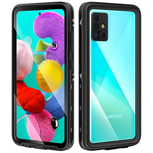 meritcase Galaxy A51 Case, Built in Screen Protector IP 68 Waterproof Dust Proof Shock Proof Phone Case Cover for Samsung Galaxy A51, 4G, 6.5inch (2019 Released)