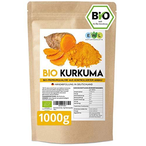 Bio Kurkuma Pulver I Kurkuma Pulver Bio I Kurkumapulver aus kontrolliert biologischem Anbau I Abgefüllt und kontrolliert bei uns in Deutschland 1kg Curcuma Pulver