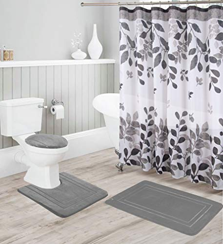 Contour Mat Black Shower Curtain Luxury Home Collection 16 Piece Embossed Memory Foam Non-Slip Bathroom Rug Set Includes Bath Rug Mat and 12 Metal Roller Hooks Toilet Lid Cover