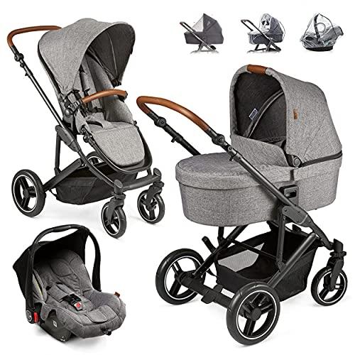 ABC Design Kinderwagen Set 3in1 Catania 4 mit Babyschale, Wanne und Sportwagen - Kombikinderwagen mit viel Zubehör - Circle Edition Grau