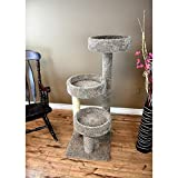 New Cat Condos 3 Tiered Carpeted Solid Wood Cat Tree Tower, 50' H, 30 LBS, Multi-Color