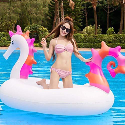 min min Airbeds Pool Floots, 220 cm Hippocampo Gigante Flotable Flotable - Fiesta de Agua Diversión Juguetes - Montar el colchón de Aire