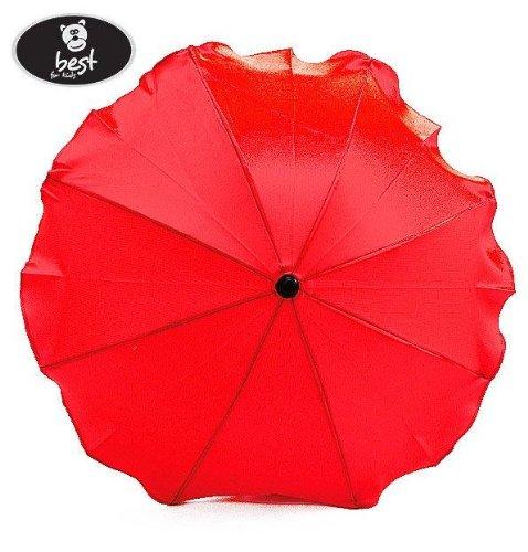 Best For Kids Universal Kinderwagenschirm NEUSTE TECHNIK Höchster UV Schutz Standard 801 - Sonnenschirm und Regenschirm für Kinderwagen, biegsam und einklappbar, 15 Farben zur Auswahl (Rot)