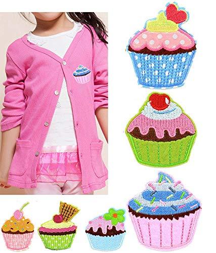 Mackur Cupcake Form Patch Set 4.7 * 6.0cm EIS Kuchen für Kinder T-Shirt Jacken Stickerei Applikationen Aufnäher von Dessert Form Zufällige Farbe 6 Stück
