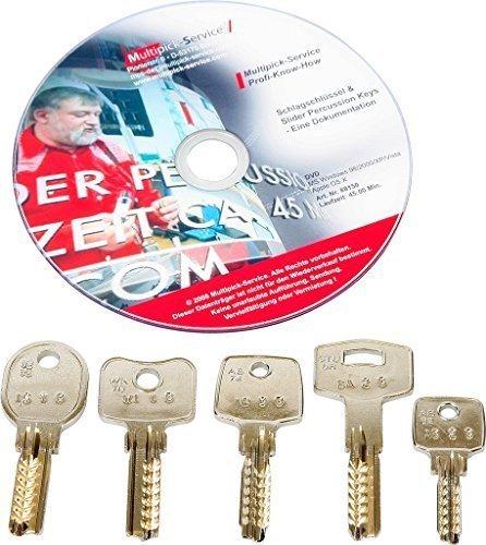 Schlagschlüsselset für Bohrmuldenzylinder, 5-teilig + Bedienungsanleitung auf DVD