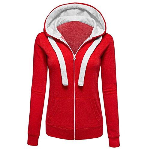 Damen Mäntel mit Kapuze Tops MYMYG Outwear Kapuzenpulli Sweatshirt Pullover Winterjacke Langarmshirt Freizeit Oberteil Strickjacke Jäckchen Winter Herbst Bluse(B4-rot,EU:38/CN-L)