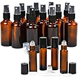 16 Pack Essential Oil Glass Bottles, 12 Black Fine Mist Amber Glass Spray Bottles (2 Ounce), 4 Amber Stainless Steel Roller Bottles (0.34 Ounce ), 2 Clear Plastic Transfer Pipettes