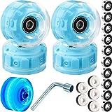 4 Piece LED Roller Skate Wheels Luminous Quad Skate Wheels Outdoor Light Up Pop Skate Wheels with Skate Roller Bearings for Double Row Skating Skateboard, 32 x 58 mm (Blue Light) (Blue Light)