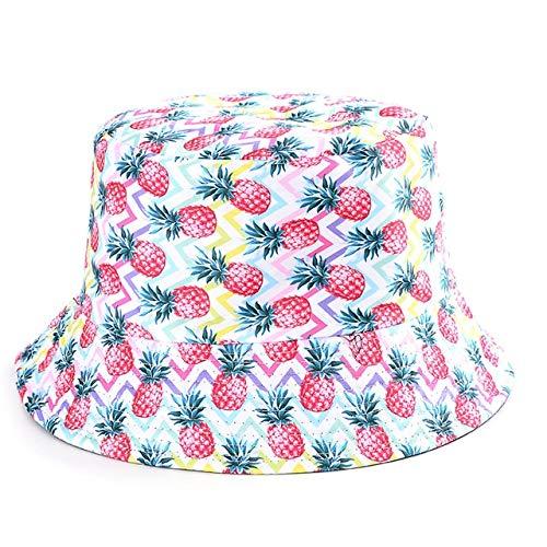 Cappelli a secchiello bianco nero per donna Uomo Cappelli estiviFishman per ragazze Travelsad boy Cappello da sole-pineapple
