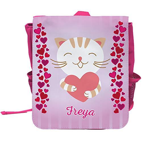 Kinder-Rucksack mit Namen Freya und süßem Katzen-Motiv mit Herzen für Mädchen