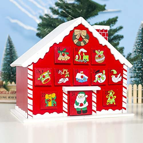 Handfly Navidad Casa De Madera Calendario De Adviento De Navidad Con 24 Cajones Para Decoraciones De Navidad Decoración De Mesa De Navidad De Madera Decoración De Escena De Mesa Chrismas Regalos