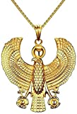 Yiffshunl Collar Punk Chunky Egipcio Horus Collar de pájaro para halcón sosteniendo Ankh Colgante Acero Inoxidable Hiphop Rock joyería 24 Collar de Cadena Regalo