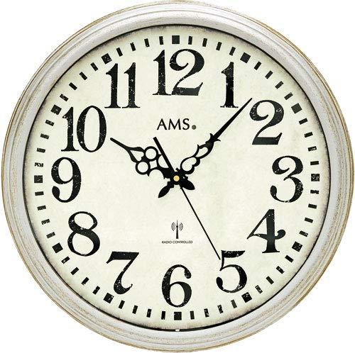 AMS 5559 Relojes Radiocontrolados Relojes de Pared Clásicos Relojes de Estilo Antiguo Relojes Vintage