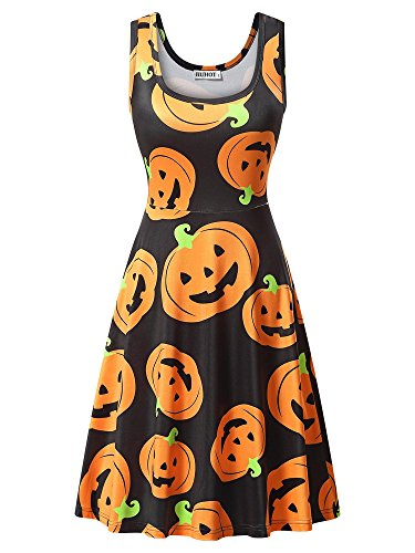 HUHOT Halloween Dress, Casual A Line Print Black Pumpkin Party Midi Tank Dress XX-Large 17039-1