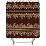 N / A High qualit Set of Seamless Borders for Design Fabric Shower Curtain Application of Henna-W90cmxH180cm