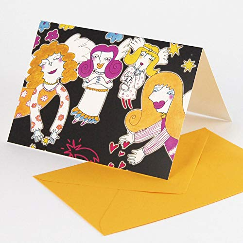 10 illustrierte Weihnachtskarten, Lizah K.: Engelsmusik, poppiger Druck auf stabilem Karton, Klappkarten mit gelborangen Umschlägen