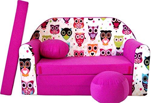 Pro Cosmo Canapé-lit H17 - avec Pouf, Repose-Pieds, Oreiller - pour Enfants - en Tissu Rose - 168 x 98 x 60 cm