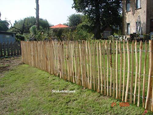 Gartenwelt Riegelsberger Premium Staketenzaun aus Kastanie Kastanienzaun Rollzaun Lattenzaun Holz-Zaun Lattenabstand 4-6 cm Zaunlänge 10 m Höhe 80 cm
