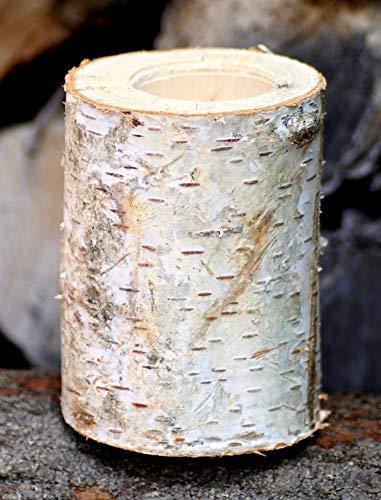 Kerzenhalter aus Birkenholz Höhe 10 cm Kerzenständer Teelichthalter Birkenstamm Birke Massivholz
