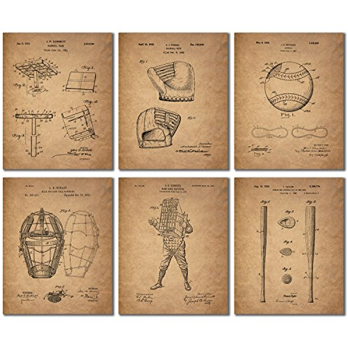 Baseball Patent Wall Art Prints - Set of 6 (8 inches by 10 i...