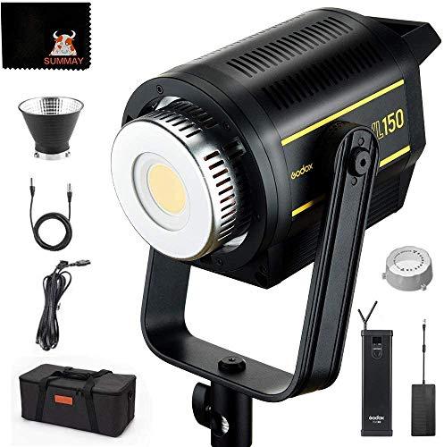 GODOX VL150 Lampada video LED 5600k 150W LCD Applicazioni mobili Batteria Ricaricabile con montaggio a V Luce video Registrazione video Studio fotografico (VL150)