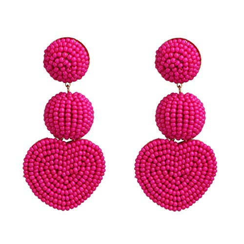Fransande Pendientes grandes de perlas de arroz con diseño geométrico de estilo étnico bohemio, color rosa